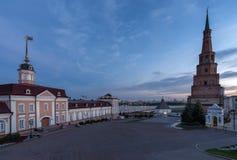 Suyumbike塔 喀山市,俄罗斯 免版税库存图片