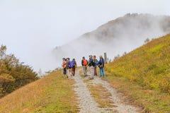 Suzaka, JAPAN - October 21, 2017: Group of people walking in the Fudodaki on autumn of Yonago, Suzaka-shi, Nagano Prefecture,Ja royalty free stock images