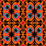Suzani pattern with Uzbek and Kazakh motifs. Suzani, vector seamless ethnic pattern with Uzbek, Turkish and Kazakh motifs. in bright vibrant colors. Texture for Royalty Free Stock Photography