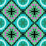 Suzani pattern with Uzbek and Kazakh motifs. Suzani, vector seamless ethnic pattern with Uzbek, Turkish and Kazakh motifs. in bright vibrant colors. Texture for Stock Image