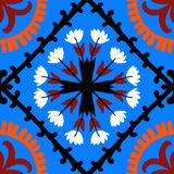 Suzani pattern with Uzbek and Kazakh motifs. Suzani, vector seamless ethnic pattern with Uzbek, Turkish and Kazakh motifs. in bright vibrant colors. Texture for Royalty Free Stock Images