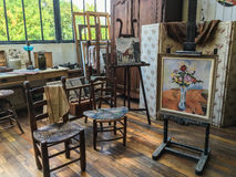 Suzanne Valadon studio in Paris, France, with chairs, easels, paintings Royalty Free Stock Photos