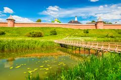 Suzdal cityscape in summer day. Panorama of the old Russian historic town Royalty Free Stock Image