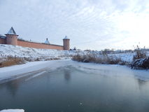 Suzdal Cremlin. View from frozen river Royalty Free Stock Photos