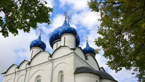 Suzdal Kremlin. Cathedral of Nativity of Virgin (XIII-XIX.) stock footage