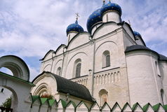 Suzdal Kremlin XII century. Nativity Cathedral with blue domes. Gold ring of Russia. Orthodox architecture. Suzdal Kremlin XII century. Nativity Cathedral with Royalty Free Stock Photo
