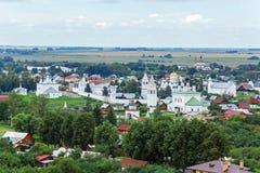 Suzdal miasta widok z lotu ptaka z Pokrovsky klasztorem, Rosja Obraz Stock