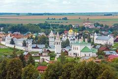 Suzdal miasta widok z lotu ptaka z Pokrovsky klasztorem, Rosja Obraz Royalty Free