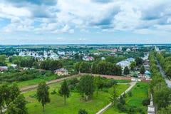 Suzdal miasta widok z lotu ptaka z Pokrovsky klasztorem, Rosja Fotografia Royalty Free