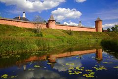 Suzdal. Monastry on the river in Suzdal, Russia Royalty Free Stock Photos