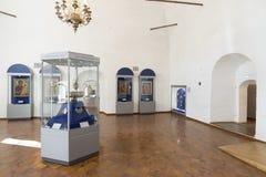 Suzdal, Rosja -06 11 2015 Wystawa Rosyjskie ikony w St Euthymius monasterze w Suzdal Złoty pierścionek Rosja podróż Obraz Stock