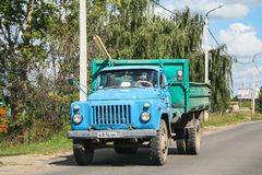 GAZ 53. Suzdal, Russia - August 23, 2011: Agricultural dump truck GAZ 53 in the city street Royalty Free Stock Photography