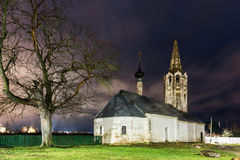 Suzdal, Russia. church of Nativity of St. John the Baptist. And a lonely tree at night in spring Stock Images