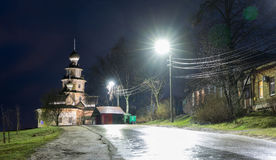 Suzdal, Russia. Church of Transfiguration of Jesus. And a street lamp at night in spring Royalty Free Stock Photo