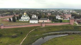 18-07-2019 Suzdal, Russia: Fenced area of the church and main sights in the town. Aerial view stock footage
