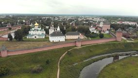 18-07-2019 Suzdal, Russia: Fenced area of the church in the village. Aerial view stock video footage