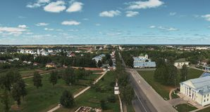 Suzdal, RUSSIA - July 29, 2018: Aerial view of town Stock Photography