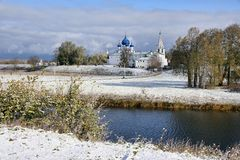 After the First Snowfall - Suzdal`s Landscapes. SUZDAL, RUSSIA - Morning Suzdal landscape after the first snowfall of  Autumn 2015, with a view of the Kamenka Stock Image