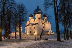 Suzdal, Russia. Nativity Cathedral of Suzdal Kremlin at night in spring. Suzdal, Russia. Nativity Cathedral, the bell tower and Archbishop`s chambers of Suzdal Royalty Free Stock Photos