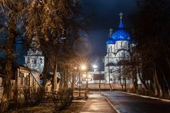 Suzdal, Russia. Nativity Cathedral of Suzdal Kremlin at night in spring. Suzdal, Russia. Nativity Cathedral, the bell tower and Archbishop`s chambers of Suzdal Royalty Free Stock Photography