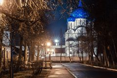 Suzdal, Russia. Nativity Cathedral of Suzdal Kremlin at night in spring. Suzdal, Russia. Nativity Cathedral, the bell tower and Archbishop`s chambers of Suzdal Stock Photography