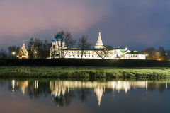Suzdal, Russia. Nativity Cathedral of Suzdal Kremlin at night in summer. Suzdal, Russia. Nativity Cathedral, the bell tower and Archbishop`s chambers of Suzdal Royalty Free Stock Photography