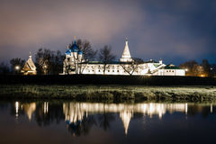 Suzdal, Russia. Nativity Cathedral of Suzdal Kremlin at night in summer. Suzdal, Russia. Nativity Cathedral, the bell tower and Archbishop`s chambers of Suzdal Stock Image