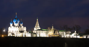 Suzdal, Russia. Nativity Cathedral of Suzdal Kremlin at night in summer. Suzdal, Russia. Nativity Cathedral, the bell tower and Archbishop`s chambers of Suzdal Stock Photography