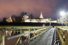 Suzdal, Russia. Nativity Cathedral of Suzdal Kremlin at night in summer. Suzdal, Russia. Nativity Cathedral, the bell tower and Archbishop`s chambers of Suzdal Stock Images