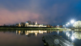 Suzdal, Russia. Nativity Cathedral of Suzdal Kremlin at night in summer. Suzdal, Russia. Nativity Cathedral, the bell tower and Archbishop`s chambers of Suzdal Royalty Free Stock Photos