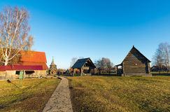 Suzdal, Russia - November 06, 2015.    Museum Wooden Architecture in  golden tourist ring Stock Image