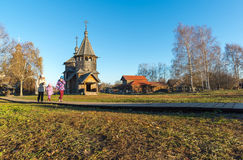 Suzdal, Russia - November 06, 2015.    Museum Wooden Architecture in  golden tourist ring Stock Photos