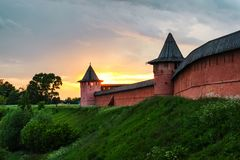 Panoramic view of Spaso-Evfimiev monastery in Suzdal, Russia during a cloudy sunset Stock Images