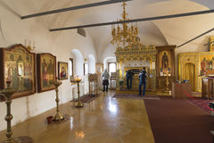 Suzdal, Russia -06.11.2015. The relics of St. Sophia of Suzdal - the wife Ivan Grozny - in Zachatievsky Church. Golden Ring Travel. Suzdal, Russia -06.11.2015 Royalty Free Stock Photo
