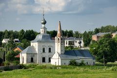 Suzdal Churches – the Epiphany and the Nativity of St John the. SUZDAL, RUSSIA - View from rampart of Suzdal kremlin on two small churches built in 18th Stock Photography