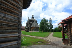 Suzdal, Russia. The Wooden Church of the Resurrection of Christ in the Museum of wooden architecture and peasants` life. Golden ring of Russia. Orthodox Royalty Free Stock Image