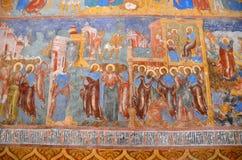 Suzdal Ryssland, September, 22, 2013 Rysk plats: inget frescoesna i Spaso-Preobrazhensky helig omgestaltningdomkyrka fotografering för bildbyråer