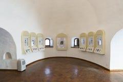 Suzdal Ryssland -06 11 2015 Utställning av ryska symboler i kloster för St Euthymius i Suzdal Guld- cirkel av det Ryssland loppet Arkivbild