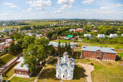 Suzdal, unique top view. Unique view of the city of Suzdal from the most top point, the Rizopolozhensky cathedral Stock Photography