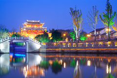 Suzhou. Illuminated Pagoda and canal at Suzhou, Jiangsu Province, China, Asia Stock Images
