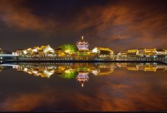 Shantang night, Suzhou, China. Suzhou ancient city, traditional buildings in colorful light, panorama view and reflection royalty free stock photo