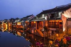 Suzhou bij nacht Stock Foto's