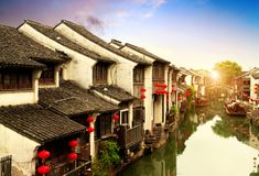 Suzhou ancient town night view Stock Photos