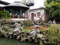 Lion Grove Garden, a classical Chinese garden and part of Unesco World Heritage in Suzhou. Suzhou, China - March 23, 2016: Springtime in Lion Grove Garden, a royalty free stock images