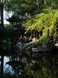 Evening at Lingering Garden, one of the famous classical gardens of Suzhou. Suzhou, China - October 30, 2017: Evening at Lingering Garden, one of the famous royalty free stock image