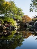 Evening at Lingering Garden, one of the famous classical gardens of Suzhou. Suzhou, China - October 30, 2017: Evening at Lingering Garden, one of the famous stock photography