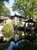 Evening at Lingering Garden, one of the famous classical gardens of Suzhou. Suzhou, China - October 30, 2017: Evening at Lingering Garden, one of the famous stock image