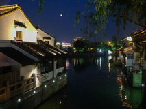 Suzhou City, Shantangjie Street, China, famous tourist attractions. The river on both sides of the unique Huizhou architecture night scenery royalty free stock image