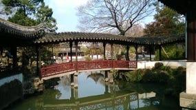 Suzhou classical garden corridor bridge royalty free stock photo