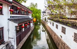 Suzhou folk houses and canals Royalty Free Stock Photography